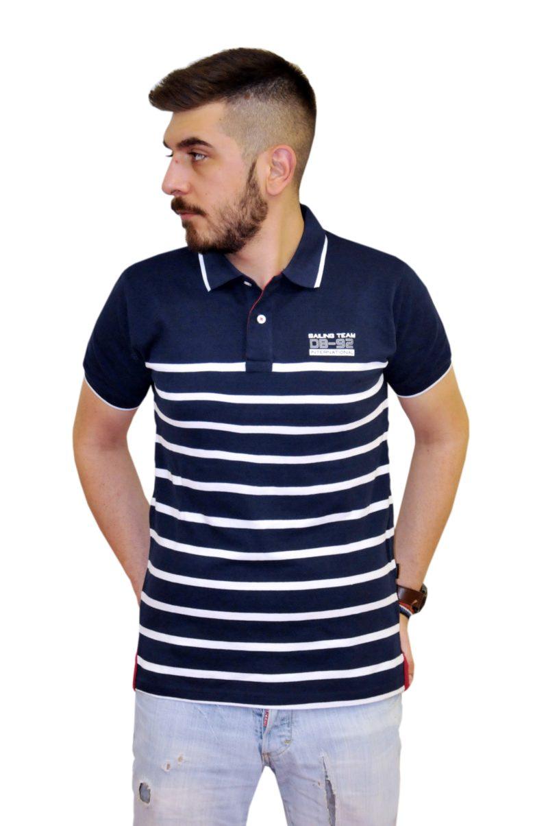 Μπλε ριγέ βαμβακερό κοντομάνικο μπλουζάκι DOUBLE