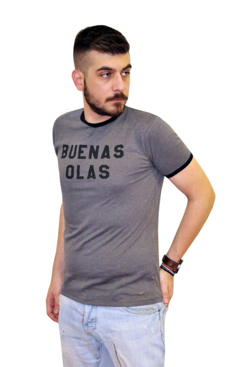 Γκρι βαμβακερή κοντομάνικη μπλούζα DOUBLE 45.TS-98.001.01