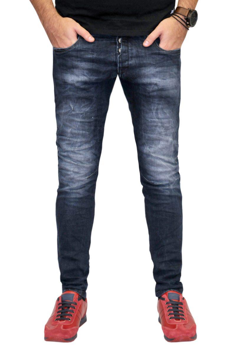 Μπλε σκούρο βαμβακερό τζίν παντελόνι DAMAGED