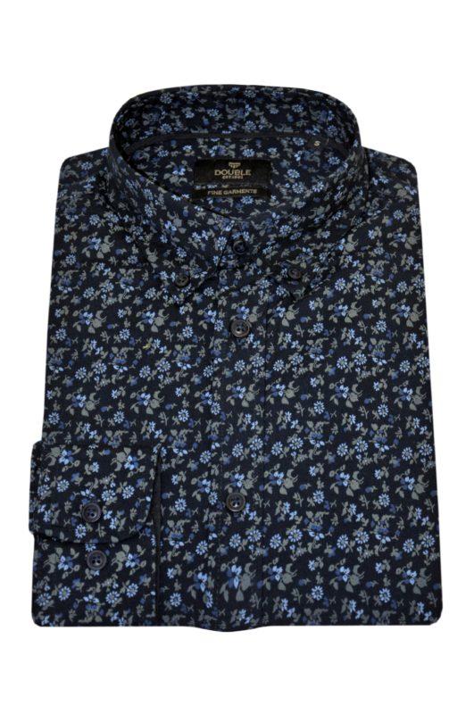 Μπλε εμπριμέ βαμβακερό πουκάμισο DOUBLE