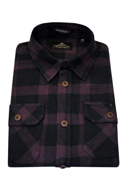 Μαύρο-μπορντό καρό βαμβακερό χειμερινό πουκάμισο DOUBLE