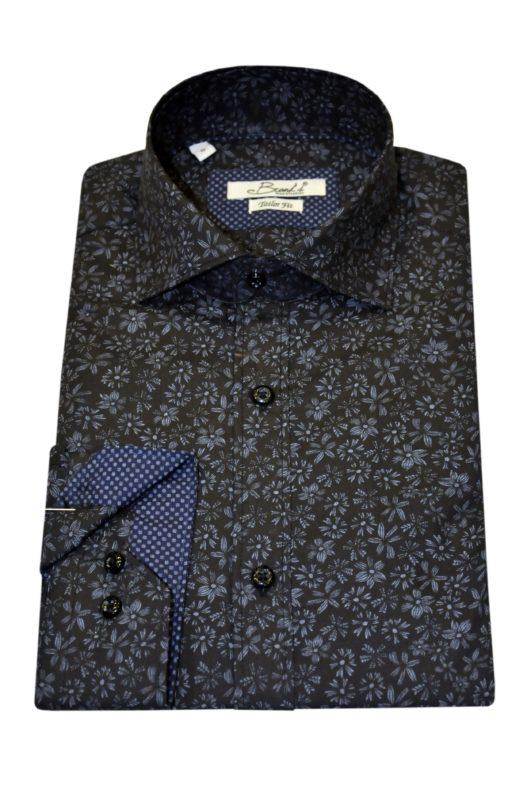 Γκρι-μαύρο εμπριμέ βαμβακερό μακρυμάνικο πουκάμισο BRAND'S