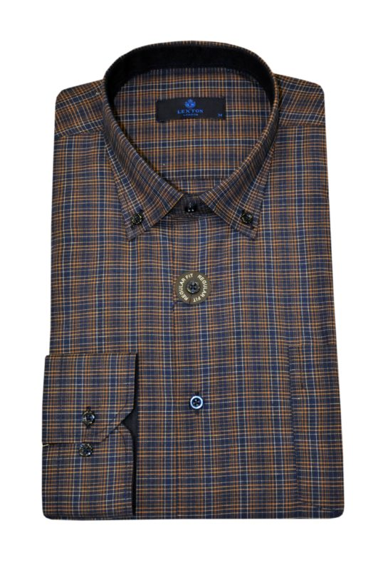 Κάμελ καρό μακρυμάνικο πουκάμισο LEXTON