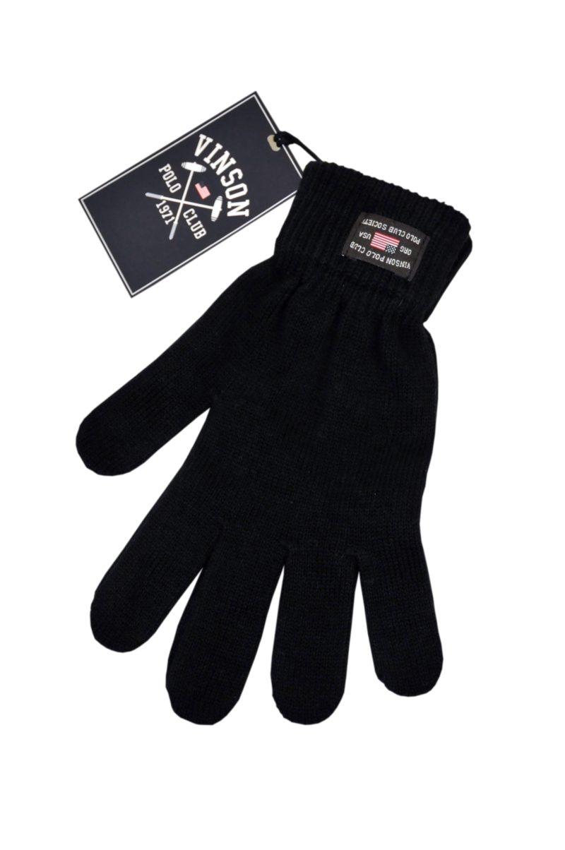 Μαύρα βαμβακερά χειμερινά γάντια POLO CLUB VINSON