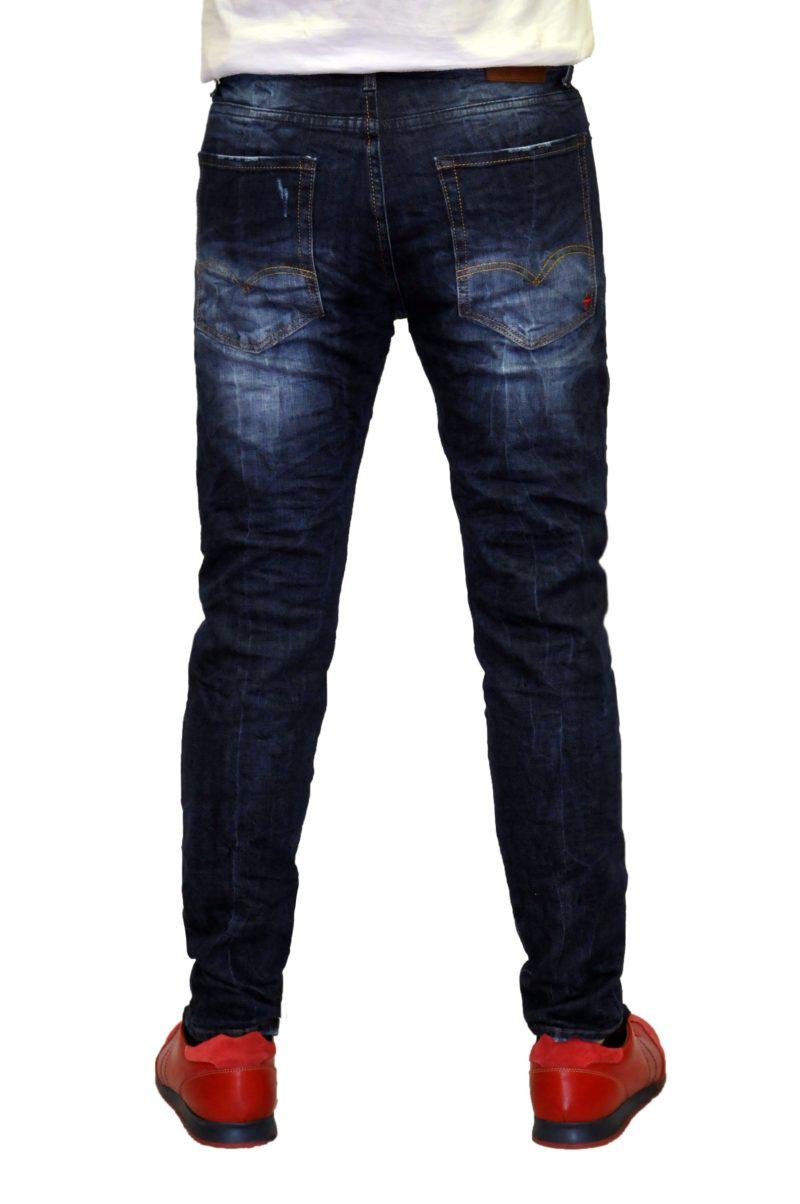 Μπλε σκούρο τζιν παντελόνι DAMAGED