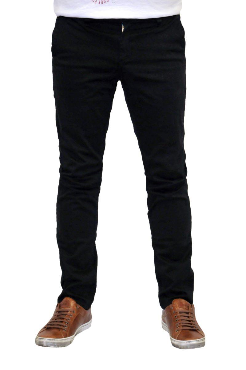 Μαύρο βαμβακερό χειμερινό παντελόνι DAMAGED