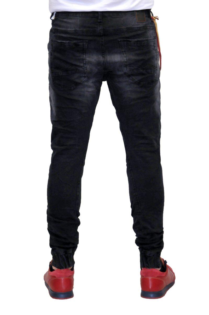 Μαύρο τζίν παντελόνι DAMAGED