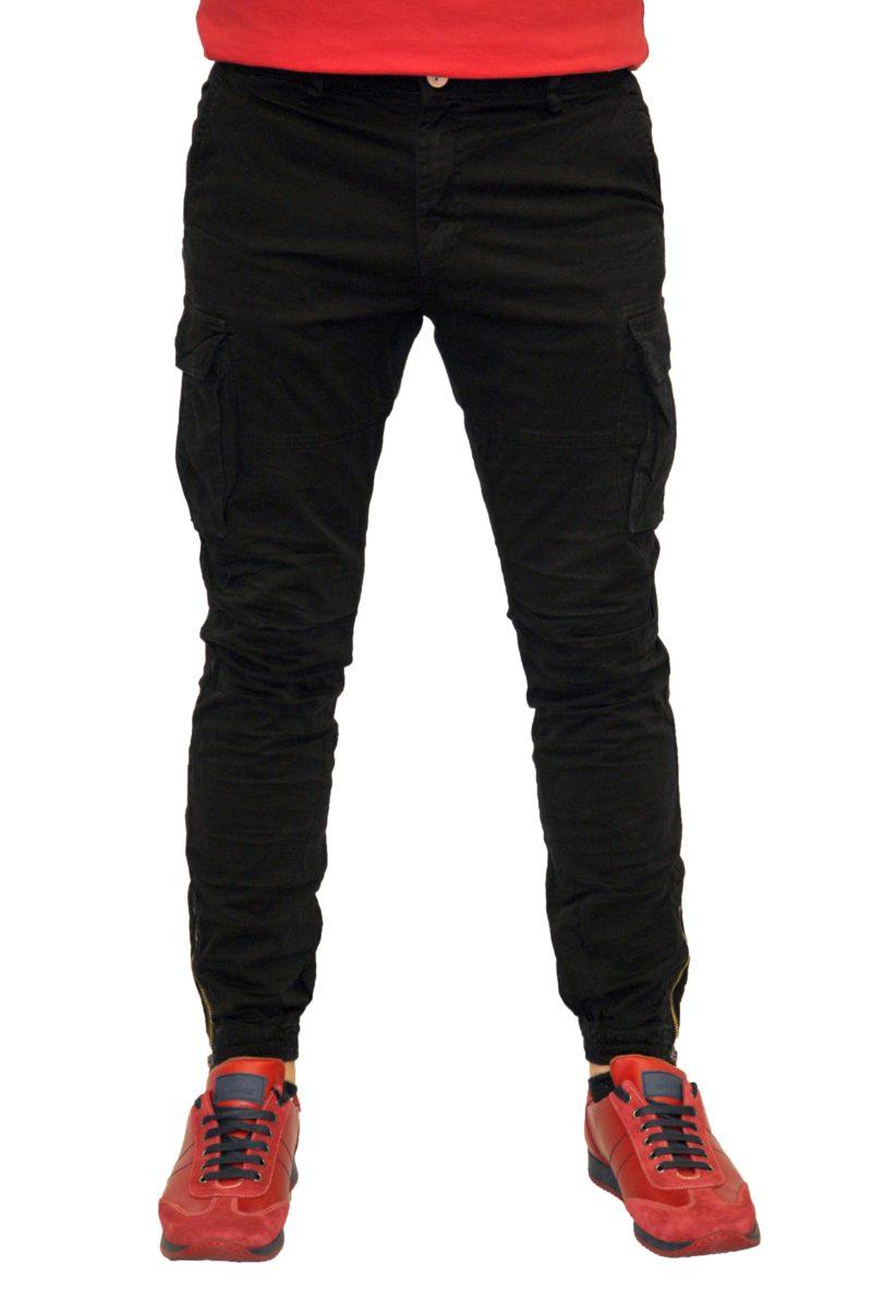 Μαύρο βαμβακερό καλοκαιρινό παντελόνι cargo PROFIL