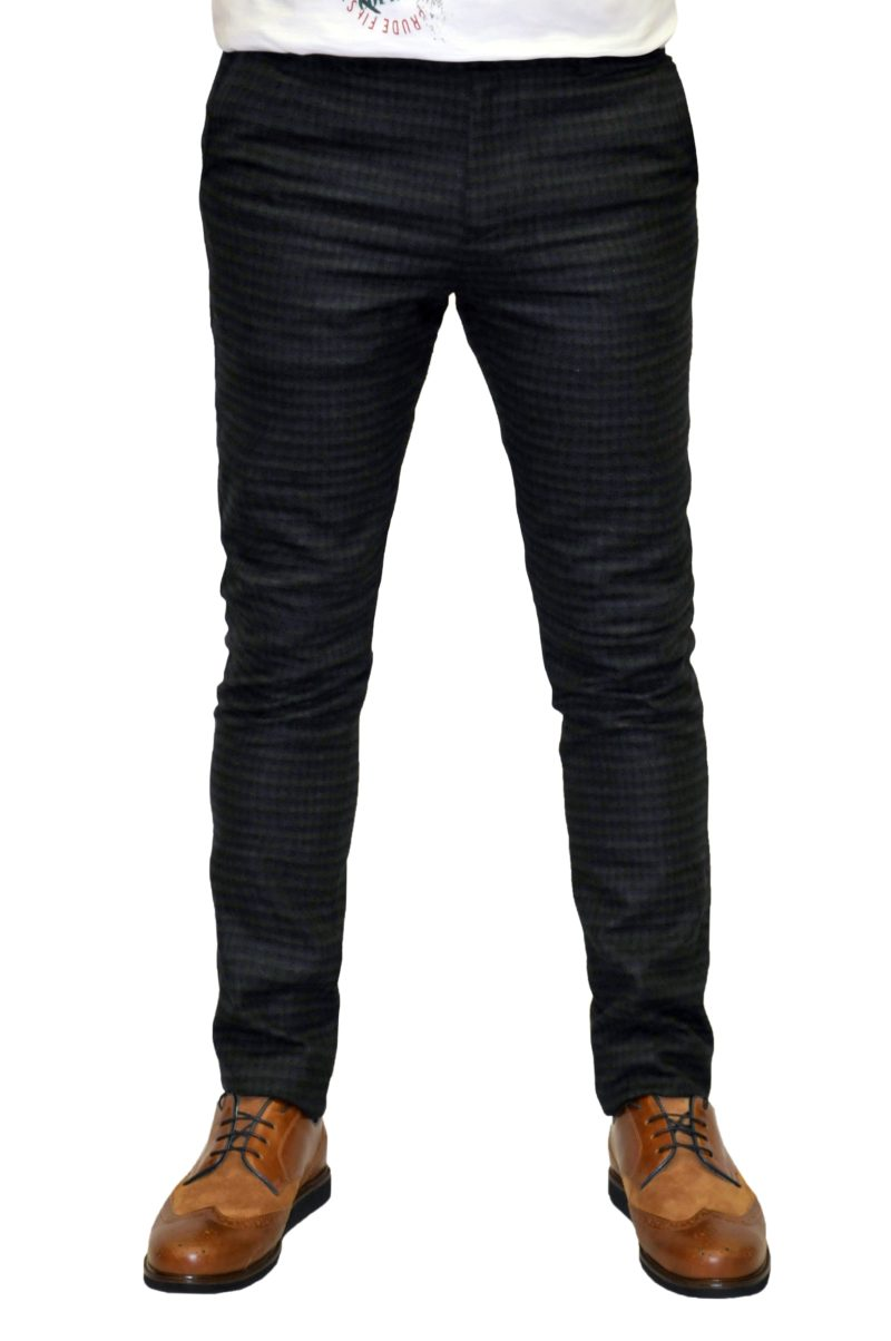 Γκρι-μπλε καρό χειμερινό βαμβακερό παντελόνι BRAND'S