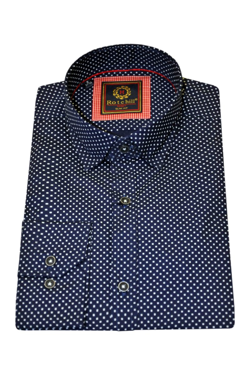 Μπλε σκούρο εμπριμέ βαμβακερό μακρυμάνικο πουκάμισο