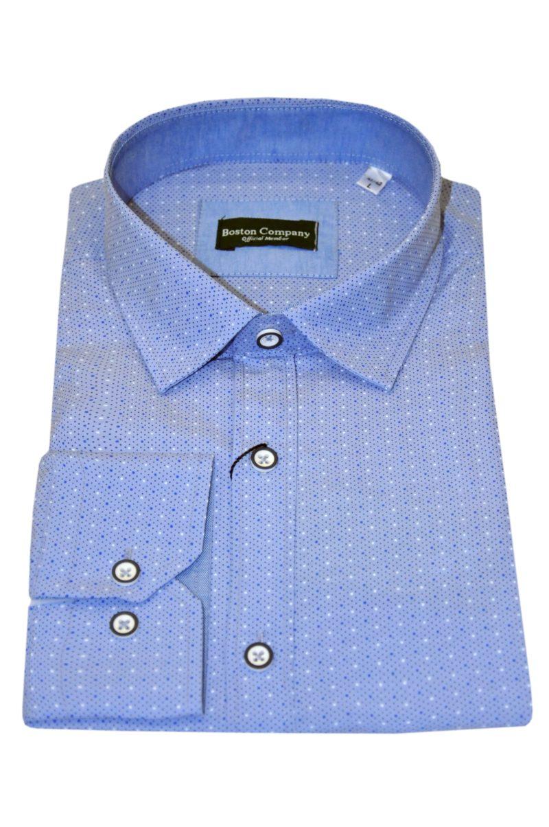 Μπλε εμπριμέ μακρυμάνικο πουκάμισο BOSTON COMPANY