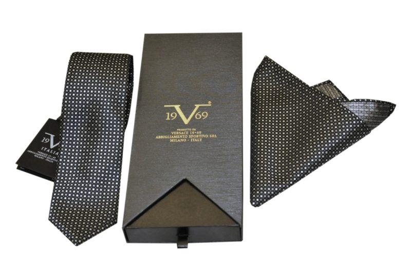 Μαύρη εμπριμέ μεταξωτή γραβάτα VERSACE 1969