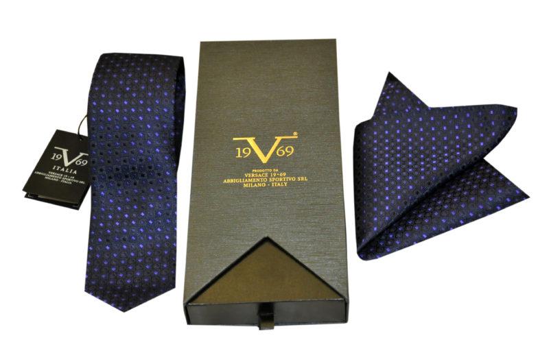 Μωβ εμπριμέ μεταξωτή γραβάτα VERSACE 1969