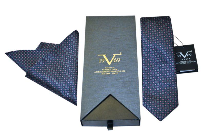 Μπλε σκούρη εμπριμέ μεταξωτή γραβάτα VERSACE 1969