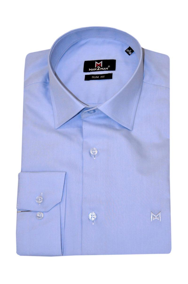 Μπλε-μωβ βαμβακερό μακρυμάνικο πουκάμισο MAN2MAN
