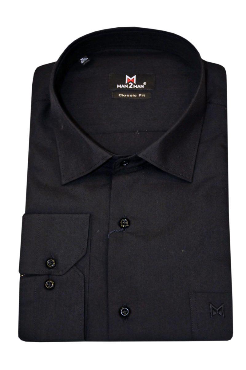 Μαύρο μονόχρωμο βαμβακερό μακρυμάνικο πουκάμισο MAN2MAN