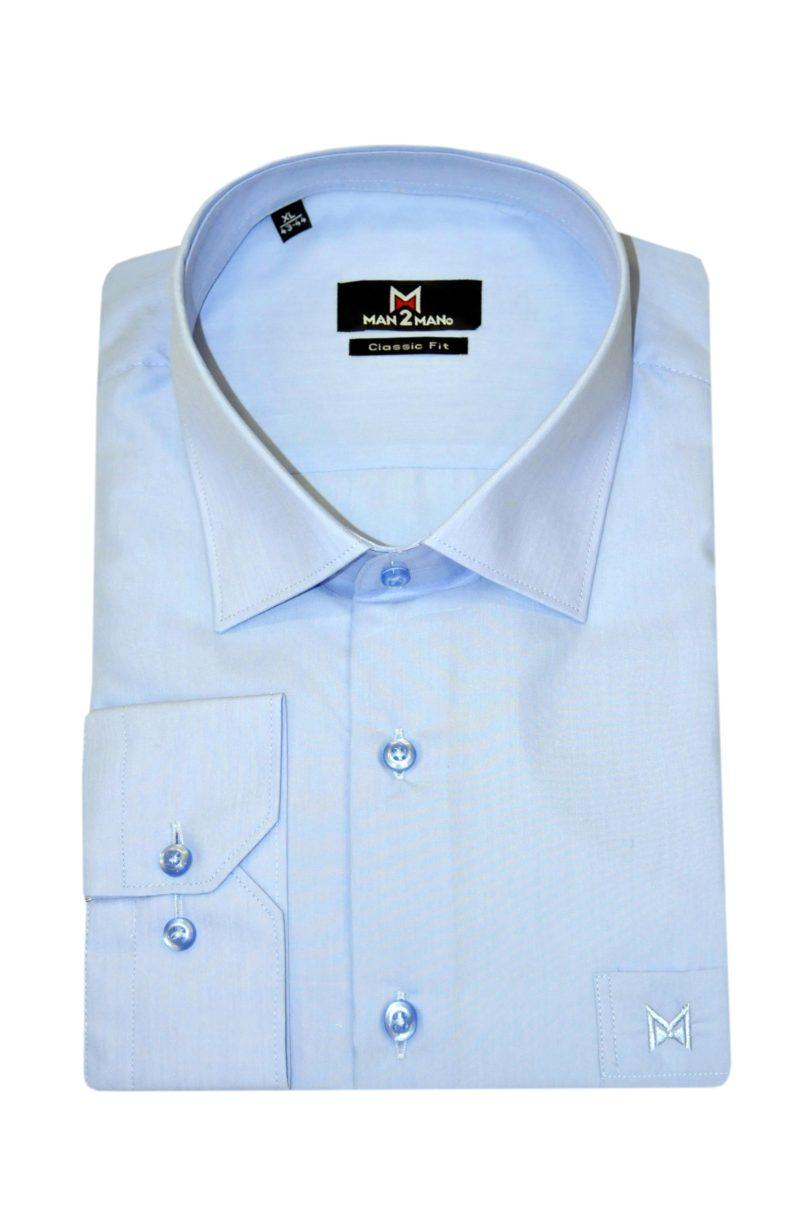 Μπλε-μωβ μονόχρωμο βαμβακερό μακρυμάνικο πουκάμισο MAN2MAN