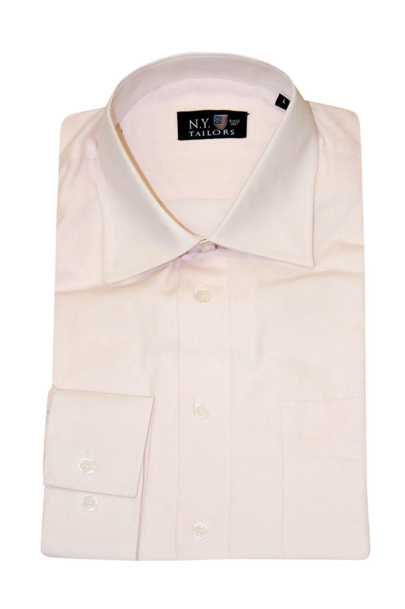 Ροζ μονόχρωμο βαμβακερό μακρυμάνικο πουκάμισο NEW YORK TAILORS