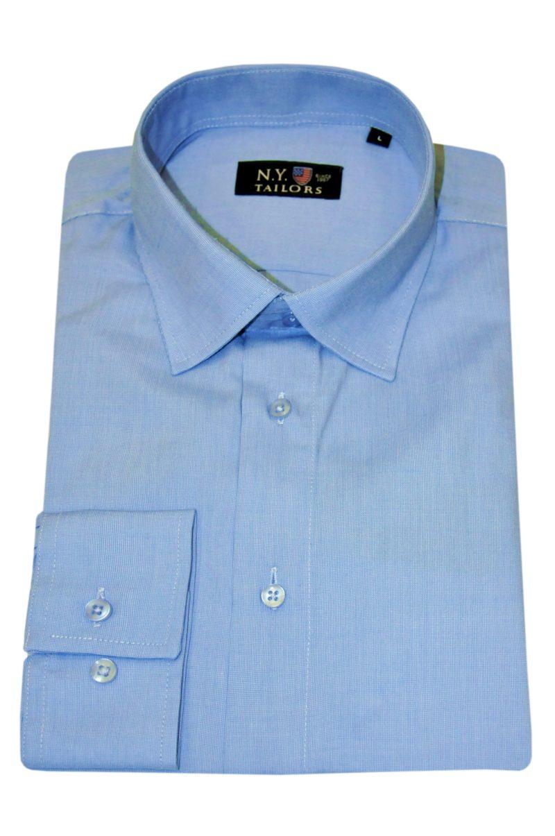 Σιέλ μονόχρωμο βαμβακερό μακρυμάνικο πουκάμισο NEW YORK TAILORS