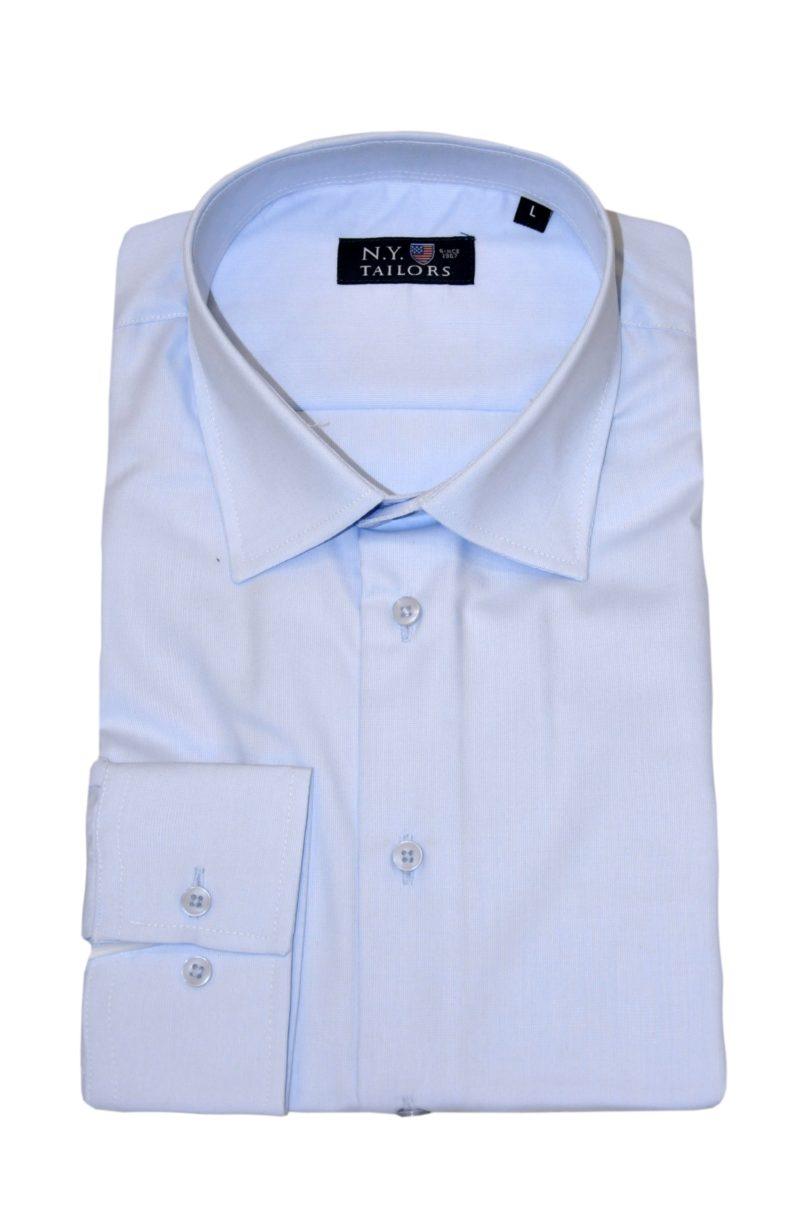 Μπλε μονόχρωμο βαμβακερό μακρυμάνικο πουκάμισο NEW YORK TAILORS