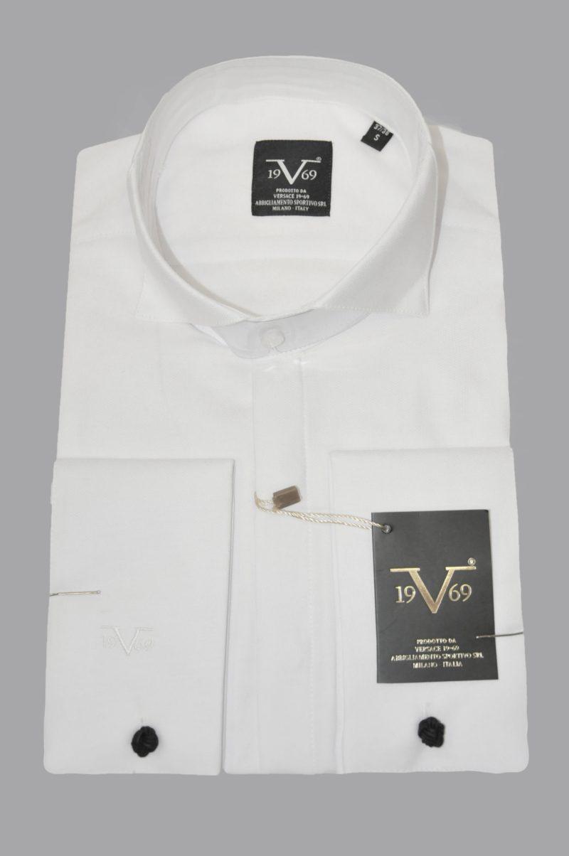 Λευκό γαμπριάτικο βαμβακερό μακρυμάνικο πουκάμισο VERSACE 1969