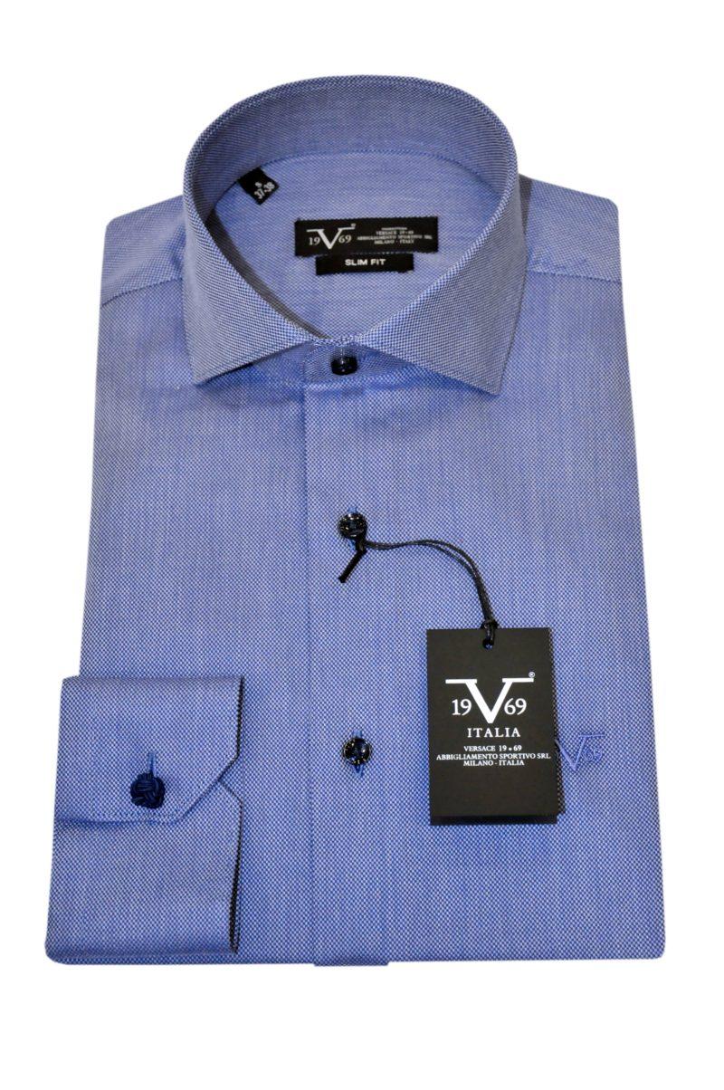 Μπλε βαμβακερό μακρυμάνικο πουκάμισο VERSACE 1969