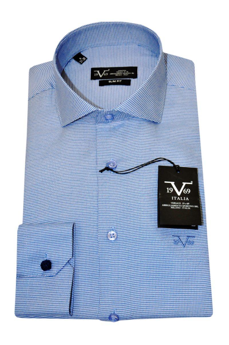 Μπλε σκούρο βαμβακερό μακρυμάνικο πουκάμισο VERSACE 1969