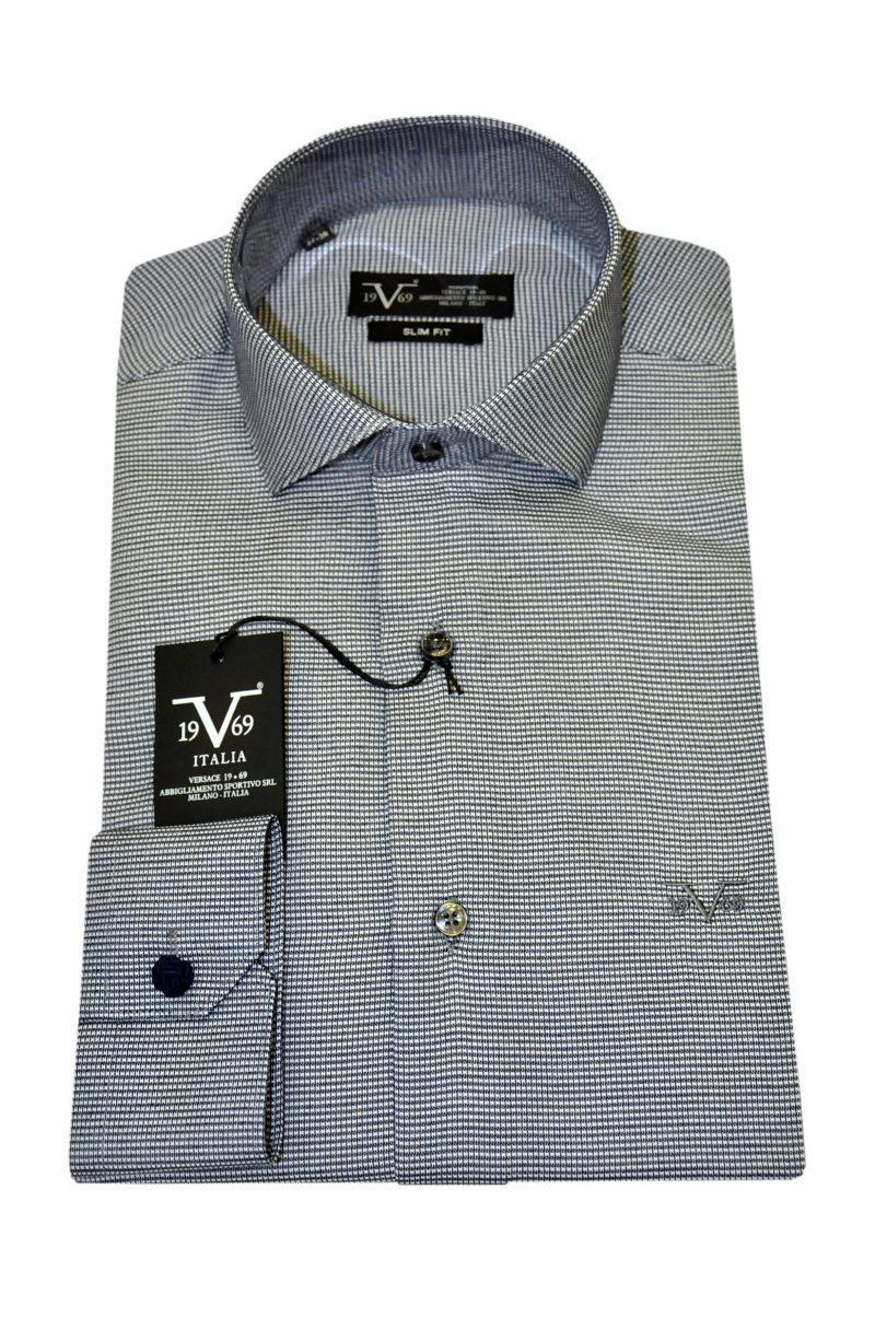 Μαύρο βαμβακερό μακρυμάνικο πουκάμισο VERSACE 1969