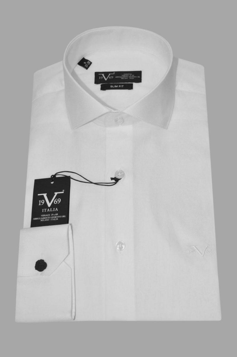 Λευκό βαμβακερό μακρυμάνικο πουκάμισο VERSACE 1969