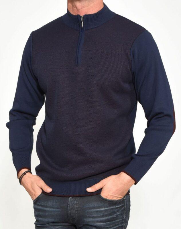 Μπλε-μπορντό πλεκτή half zip μπλούζα LEXTON