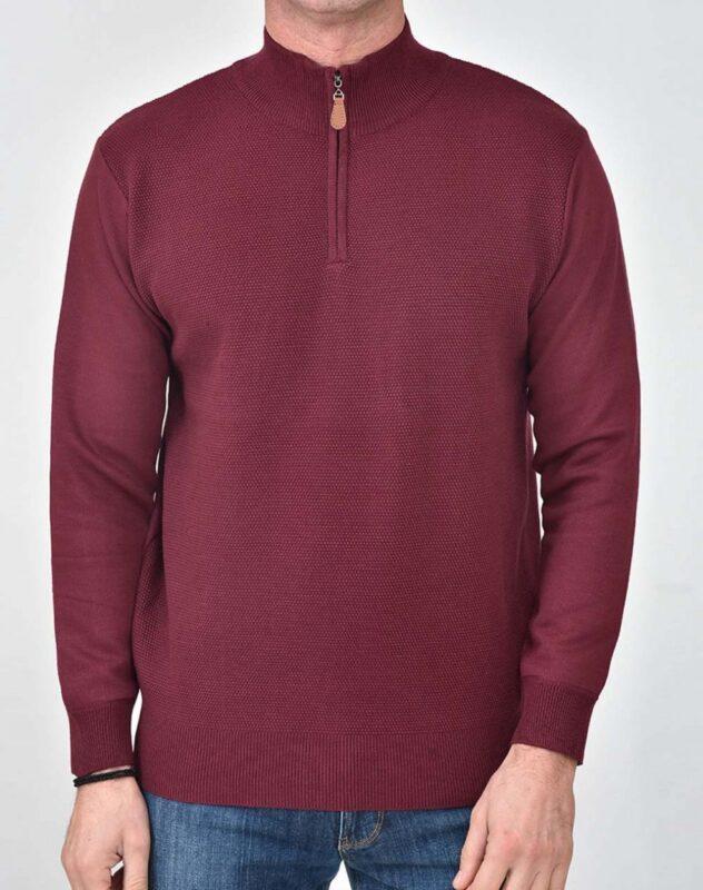 Μπορντό πλεκτή half zip μπλουζα LEXTON