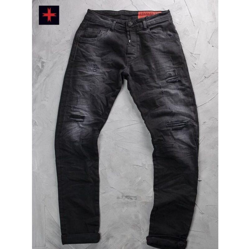 Μαύρο τζιν παντελόνι DAMAGED