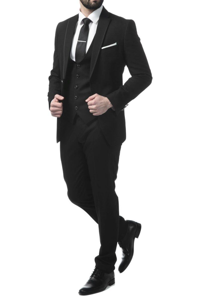 Μαύρο αμπιγιέ κοστούμι SARTORI