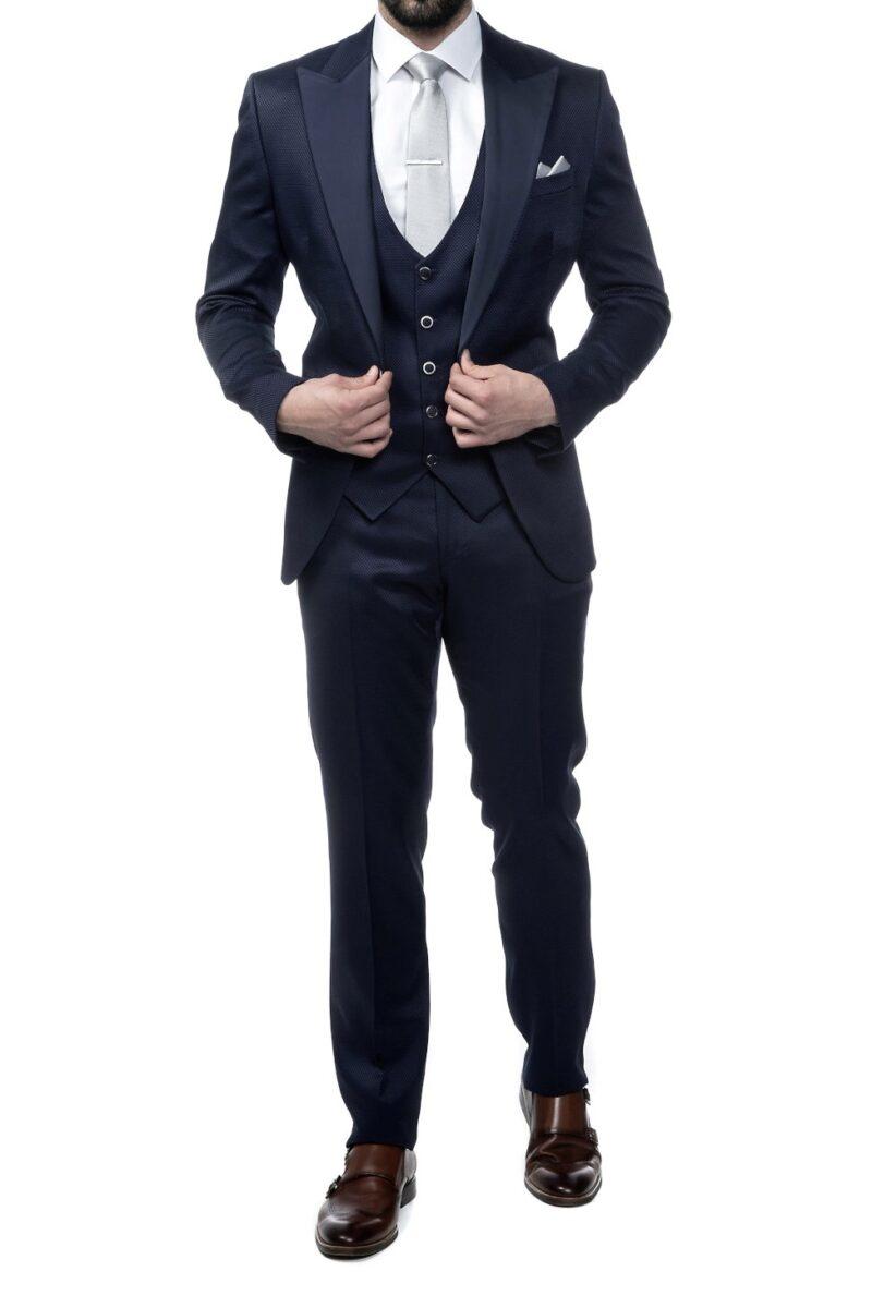 Μπλε σκούρο αμπιγιέ κοστούμι BOSTON