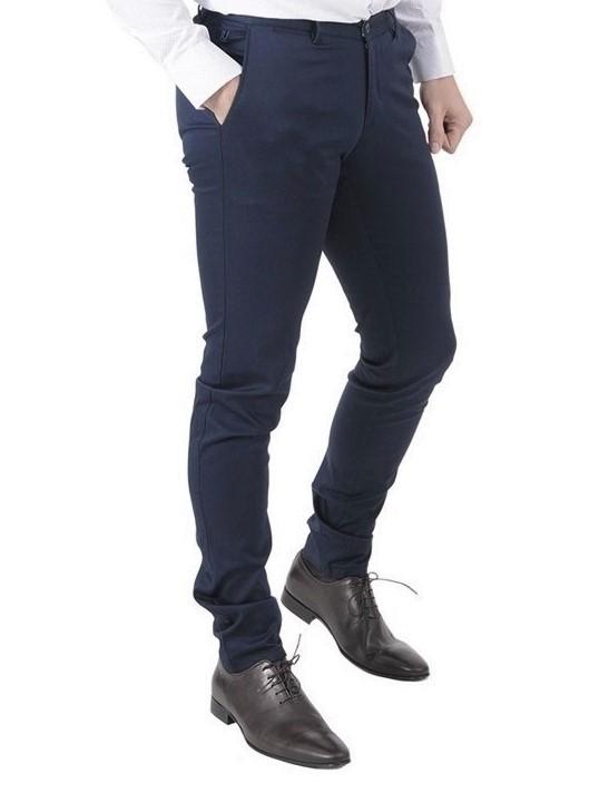 Μπλε σκούρο καλοκαιρινό βαμβακερό παντελόνι LEONARDO UOMO